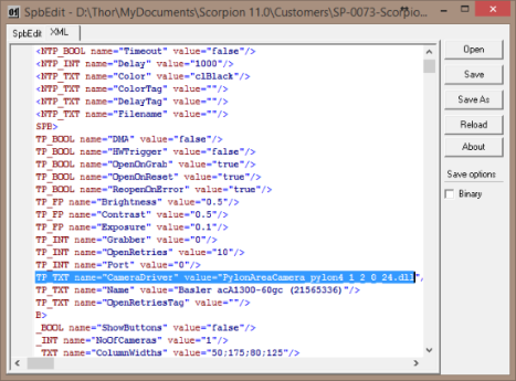 Changing Camera Driver is easy from the SPBEdit XML page